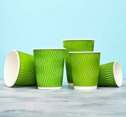 Гофрированный стакан Зеленый 250 мл